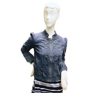 Anthropologie Idra Deni Blue Corduroy Zip Jacket